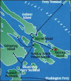 Location map of Saturna Island